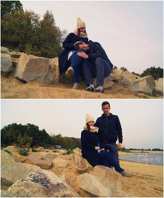 Przyszli rodzice, para, zakochani, skały, plaża