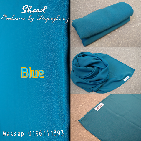 ukuran wide shawl terkini, shawl labuh terkini raya 2016, shawl labuh blue gold yellow,