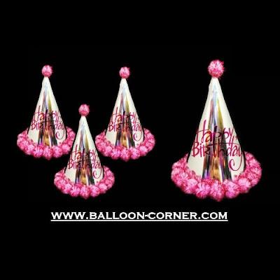 Topi Ulang Tahun Kerucut Metalik Pom Pom (Pink)