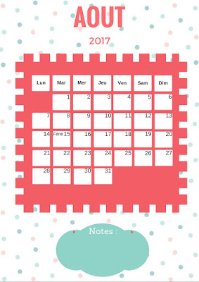 Calendrier 2017 gratuit à imprimer mois de aout