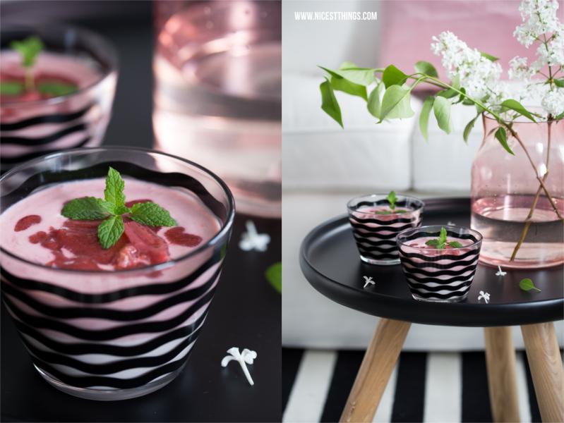 Rhabarber Creme Dessert Glasschälchen Satsning von Ikea schwarzes Wellenmuster