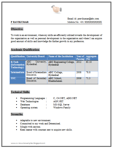 sample resumes for btech freshers free download - Resume Format For Freshers Free Download