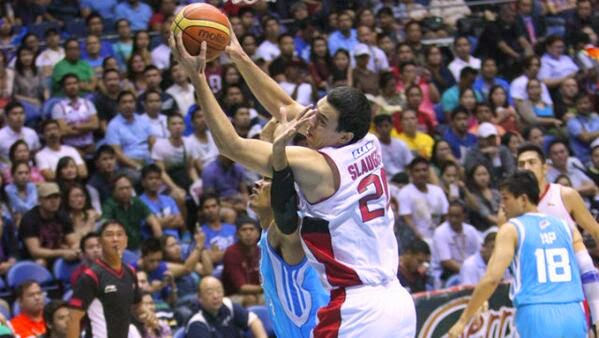 Barangay Ginebra center Greg Slaughter pulls down a rebound in a critical game 6 win