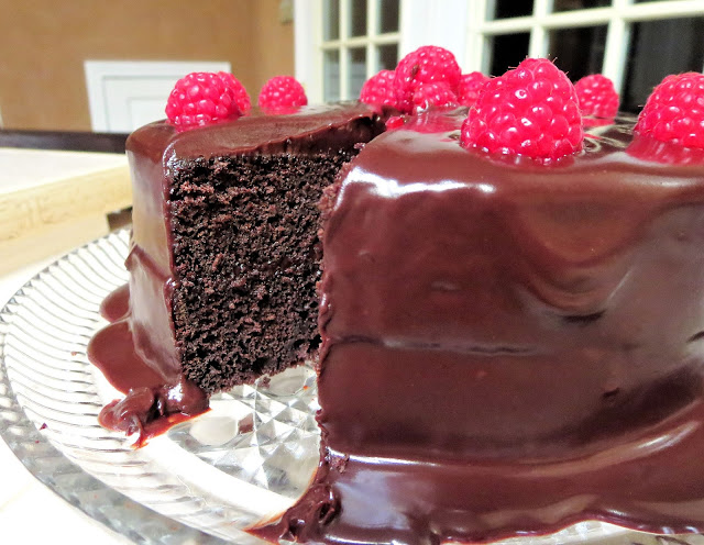 Chocolate Ganache and Raspberry Cake - Showing Inside of Cake