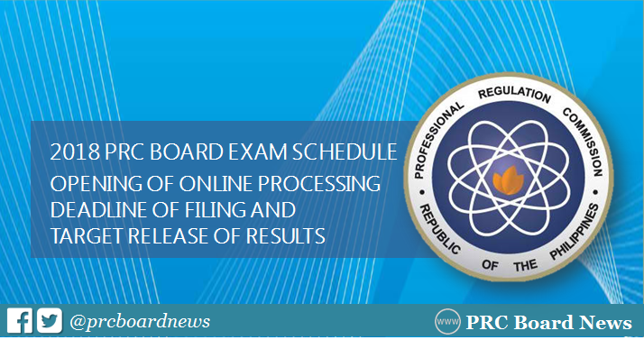 2018 PRC board exam schedule, deadline of filing and release of results