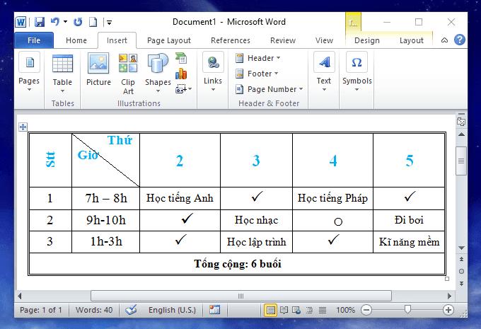 định dạng dữ liệu trong bảng trong word