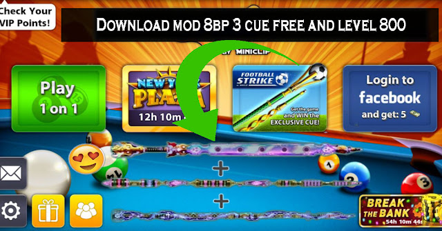 Download mod 8 ball pool 3 cue free and level 800