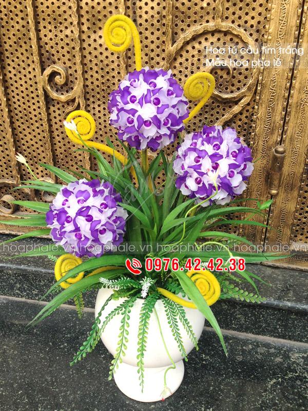 Hoa pha lê cẩm tú cầu tím trắng - Hoa đá pha lê
