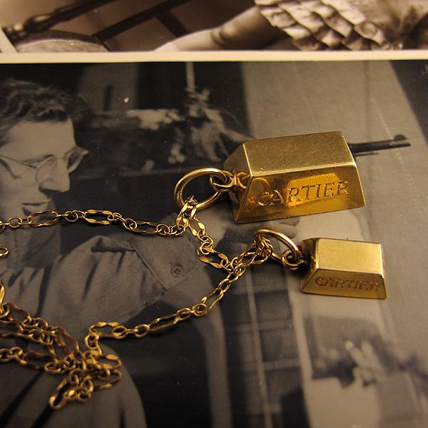 Fantastic Desired: Cartier Vintage 18K Gold Bullion Bars Pendant Necklace  TV26