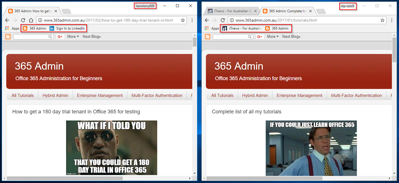 365 Admin: How to use Chrome browser for concurrent multiple