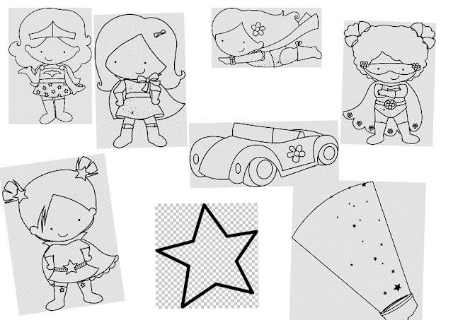 Niñas Super Heroínas: Clipart en Blanco y Negro.