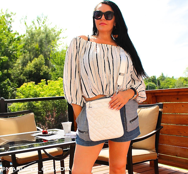 OFF SHOULDER TOP, CHANEL BAG, DESIGNER SUNGLASSES, DENIM SHORTS