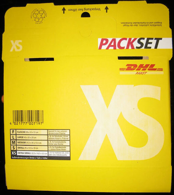 bei DHL ein Leerpaket XS für 1 Euro 49 Cent [Bitte den Adressaufkleber Brief International nicht vergessen am besten auch gleich einen Ersatz].