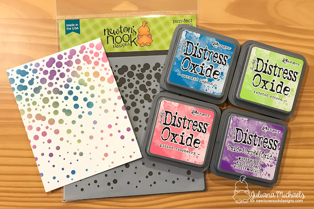 Distress Oxide Stenciled Background with Newton's Nook Designs Bubbly Stencil