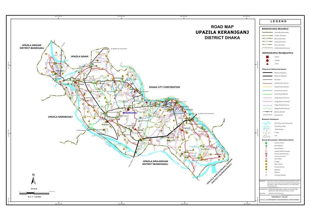 Keraniganj Upazila Road Map Dhaka District Bangladesh