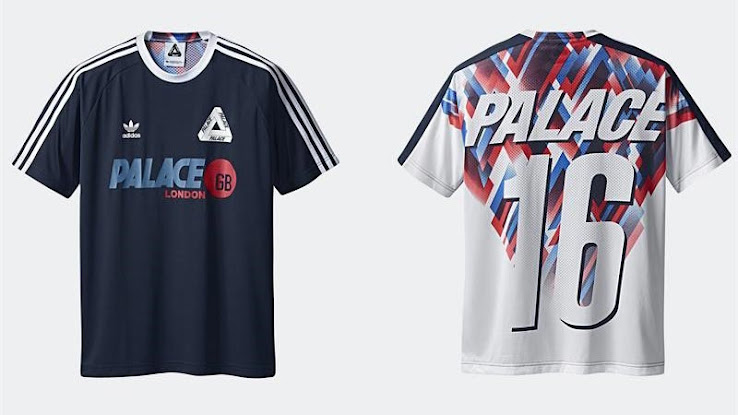 Boasting a football jersey-inspired design, the Adidas Originals Palace shirts feature the logos of Adidas Originals and the London-based skateboard brand, ...