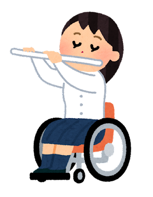 フルートを演奏する学生のイラスト(車椅子の吹奏楽)