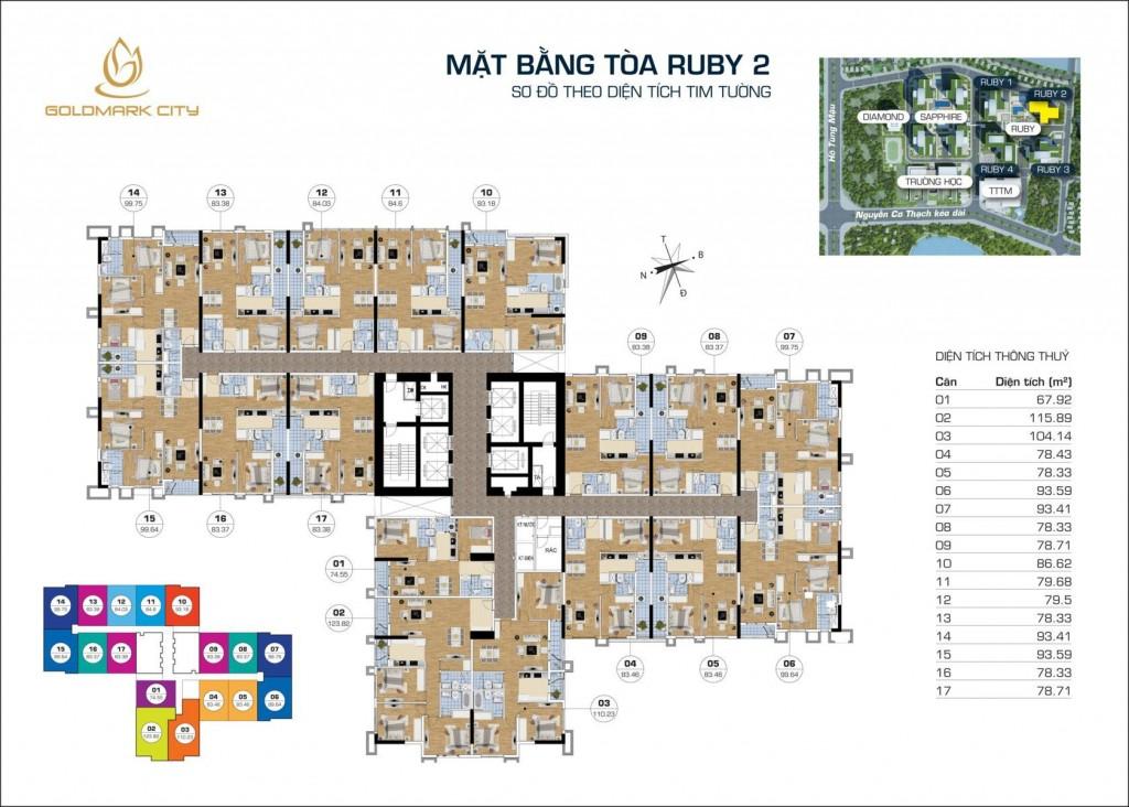 Thiết kế tổng thể tòa RUBY 2 dự án Goldmark City 136 Hồ Tùng Mậu: