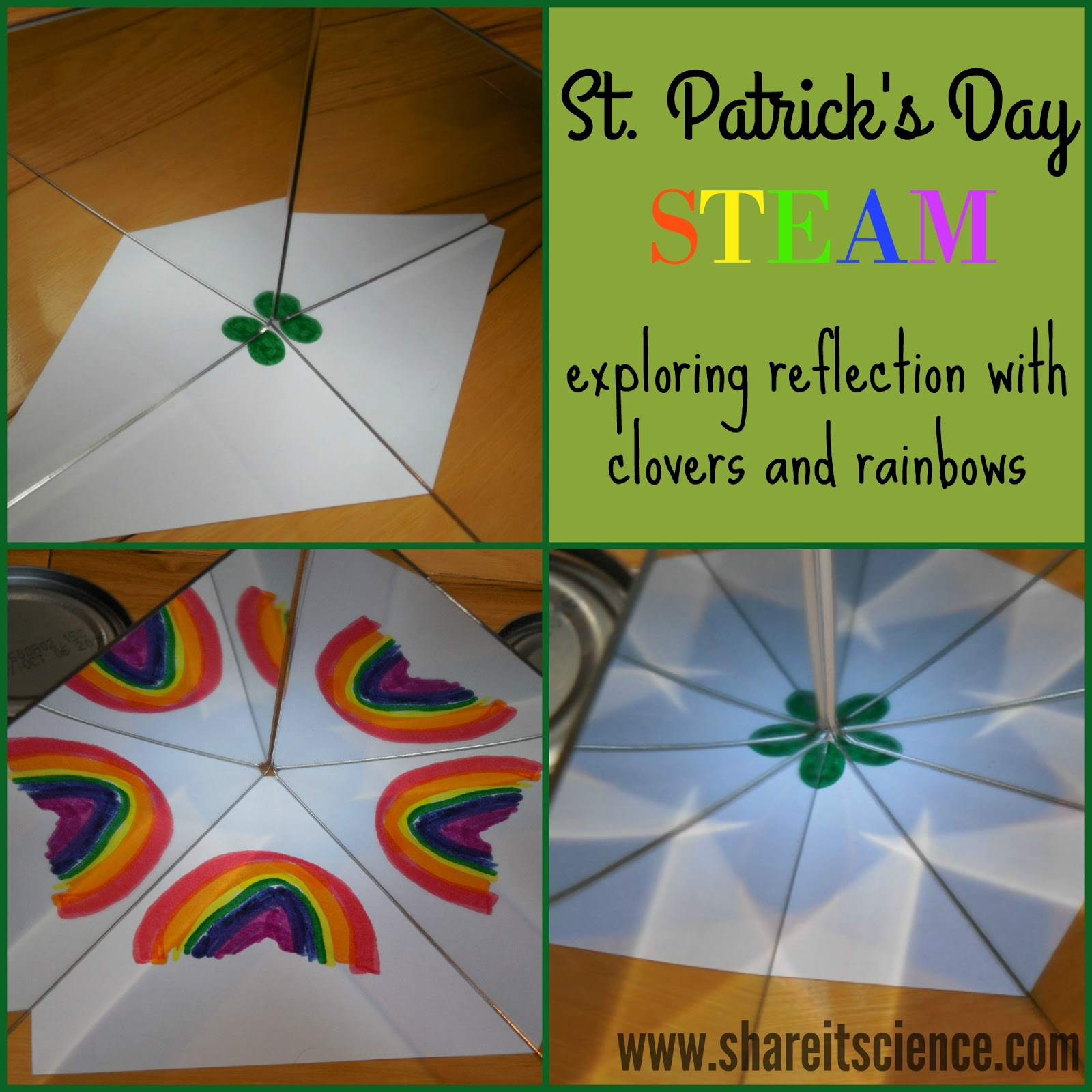 Share It Science Exploring Reflections Creating 4 Leaf Clovers With Mirrors