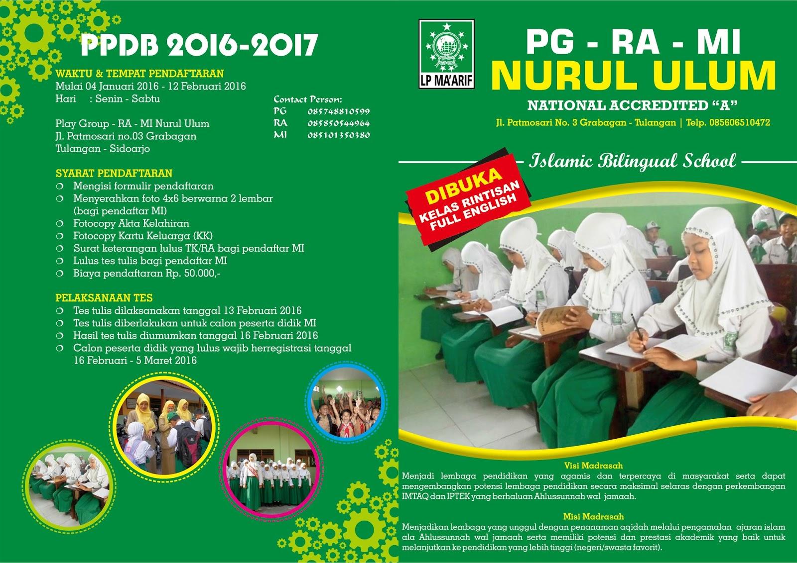 Mi Nurul Ulum Grabagan Tulangan Brosur Penerimaan Siswa Baru 2016 2017
