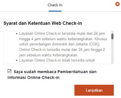 Syarat dan ketentuan web check in Garuda Indonesia