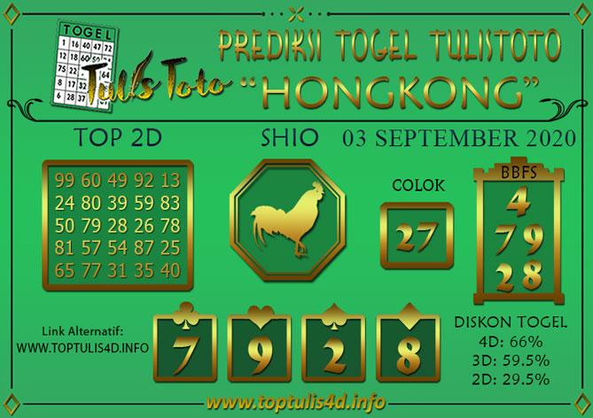 Prediksi Togel HONGKONG TULISTOTO 03 SEPTEMBER 2020