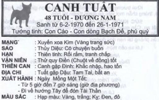 TỬ VI TUỔI CANH TUẤT 1970 NĂM 2017