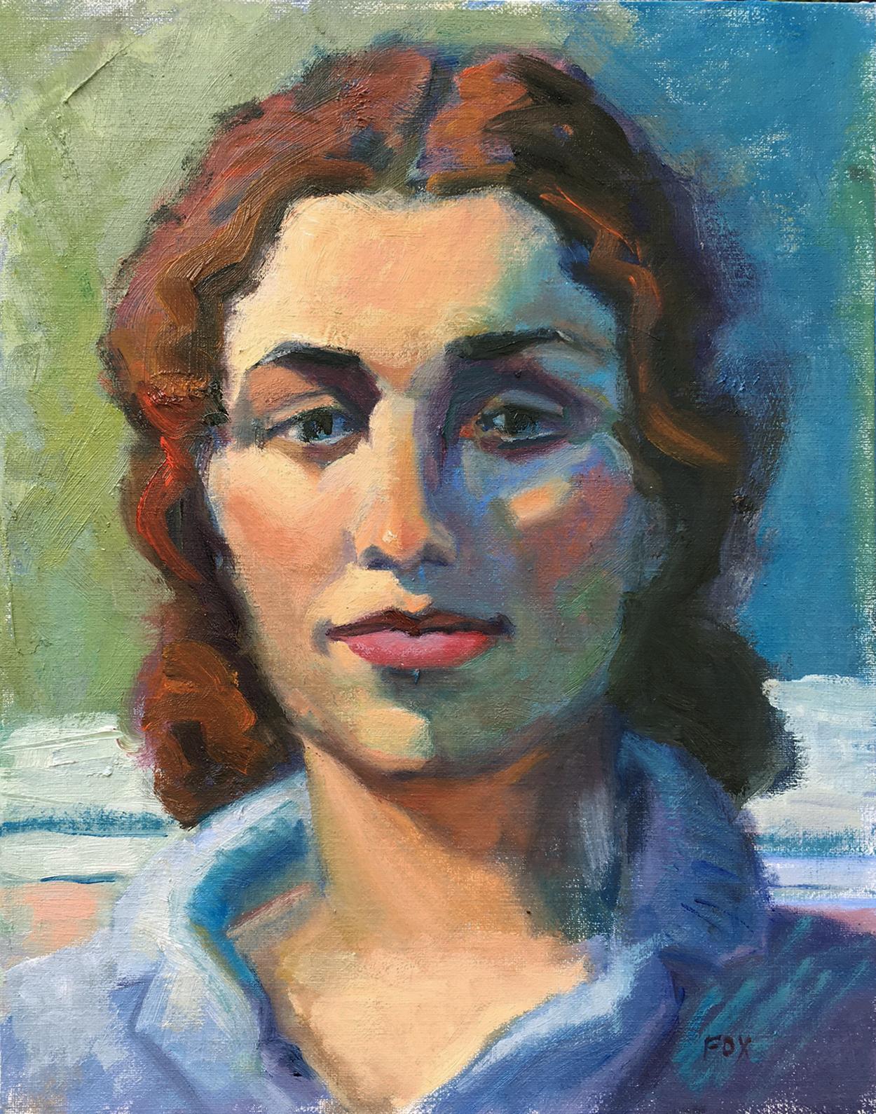 Woman By Beach Portrait Figurative Oil Painting Face Female Figuration Contemporary Figure Painter