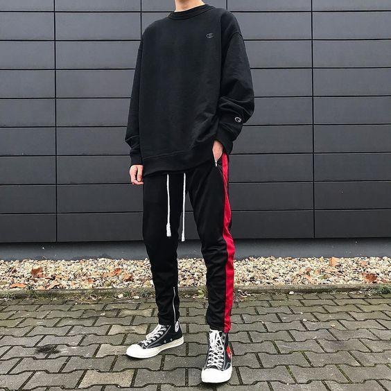 look masculino vermelho e preto track pants