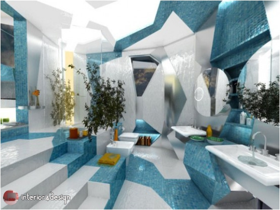 3D Futuristic Style Combination Of Two Contrasting Modern Bathroom Designs 1