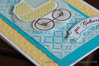 """Karte zur Geburt mit Stampin' Up! Stempelset """"Something for Baby"""" und Stencil"""