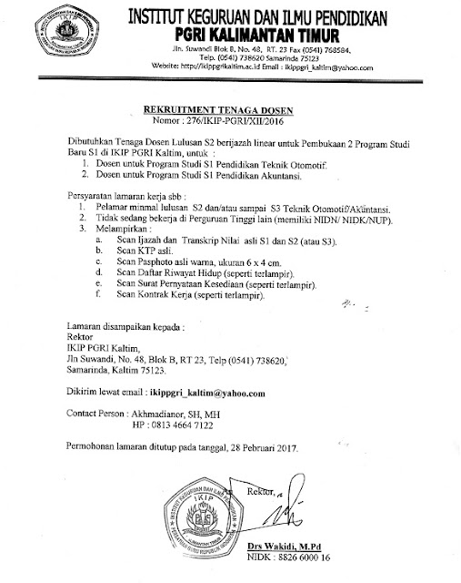Lowongan Dosen IKIP PGRI Kalimantan Timur