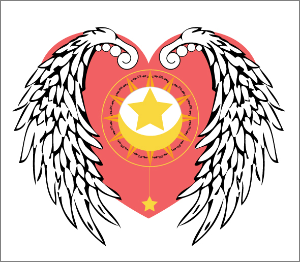 A winged heart with stars inside.