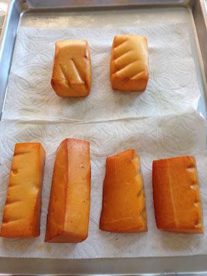 Smoked Monterey jack (top) and Gouda (bottom) cheese