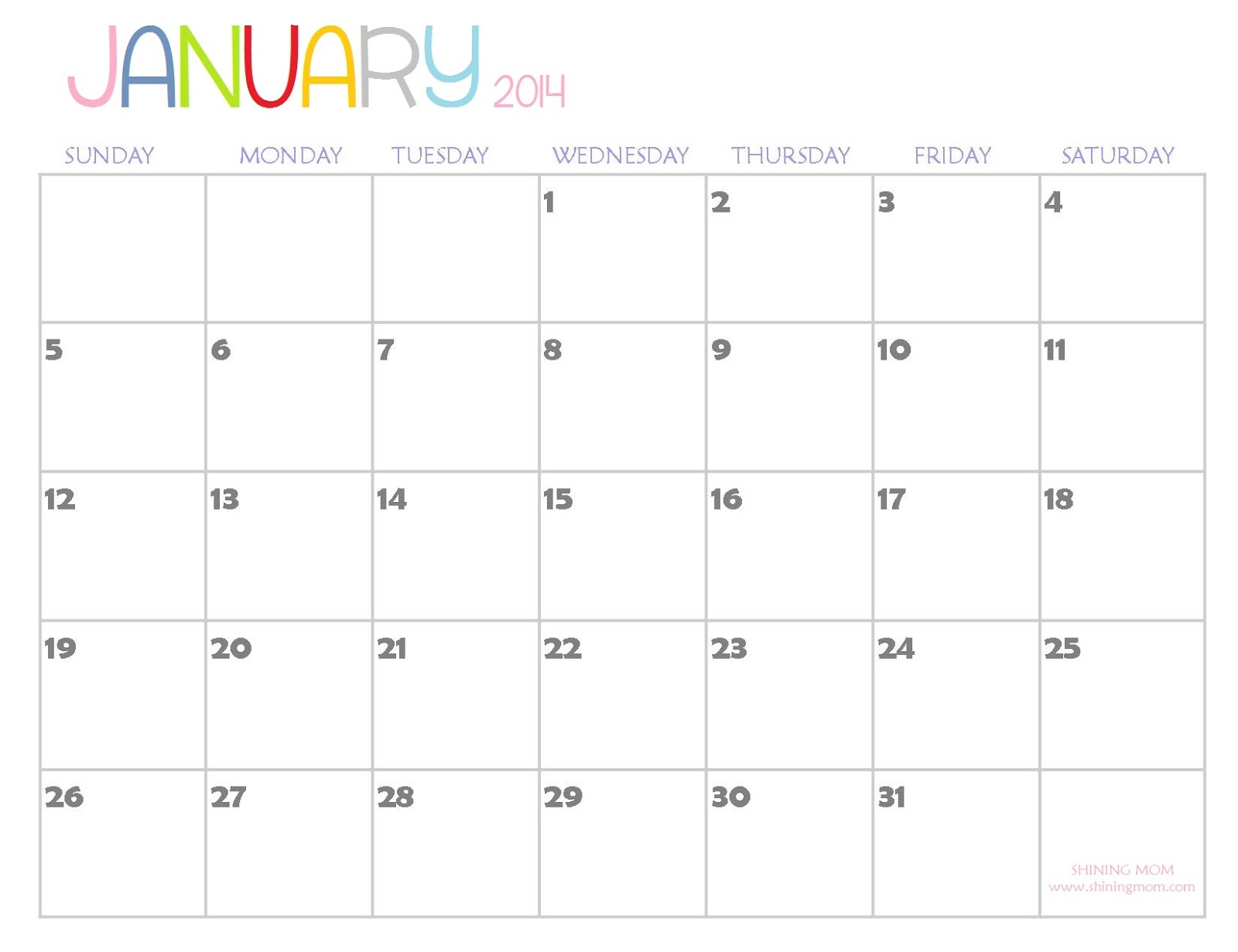The Free Printable Calendar By Shining Mom Is Here