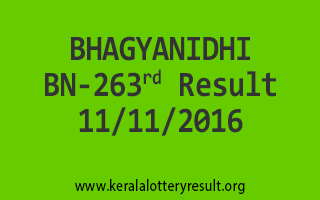 BHAGYANIDHI BN 263 Lottery Results 20-11-2016