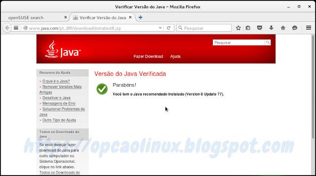 Versão do Java Verificada com sucesso!