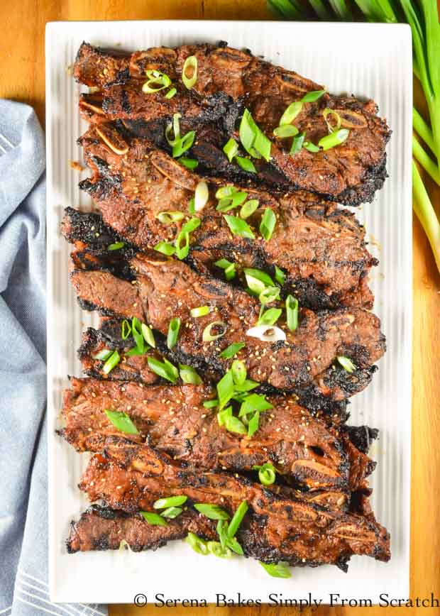Galbi Korean BBQ Short Ribs recipe with green onions and sesame seeds from Serena Bakes Simply From Scratch.