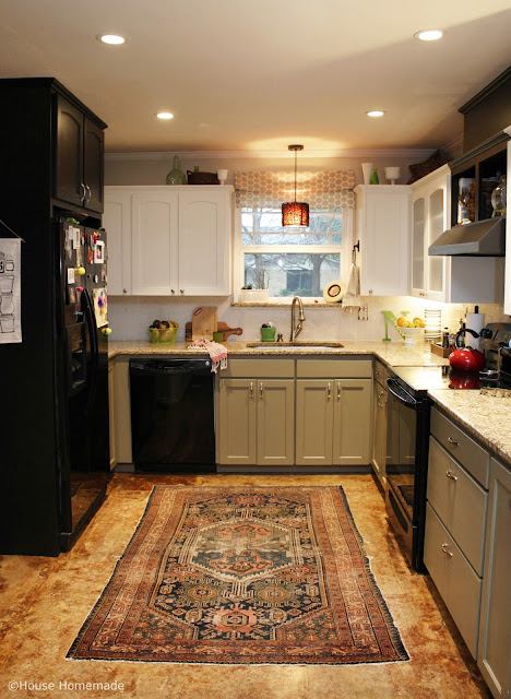 2 tone kitchen with antique rug