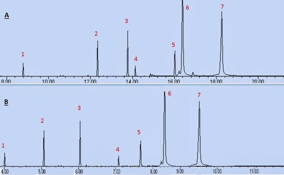 Fig. I.1:  Gradient elution of seven compounds showing the effect on peak resolution using as a mobile phase H2O - acetonitrile (A) linear, 0-100% acetonitrile (B) convex,  30-100% acetonitrile