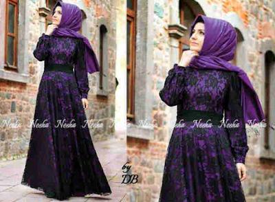 Model Busana Muslim Brokat Kombinasi Batik Terbaru