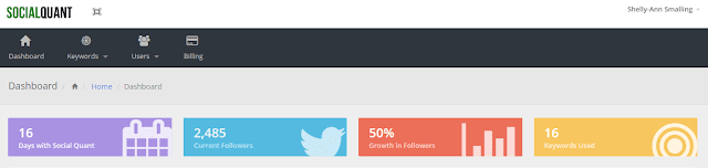 After 16 days with Social Quant my followers grew by 50%.