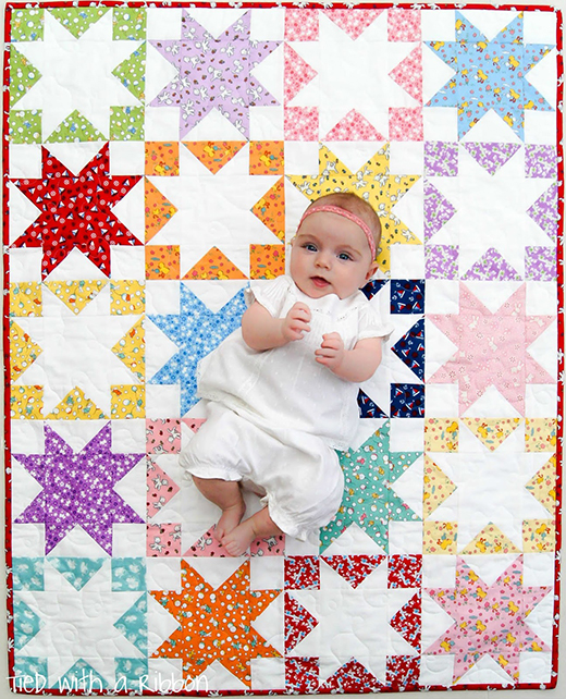 Shadow Stars Quilt Free Tutorial designed by Jemima Flendt from Tied with a Ribbon
