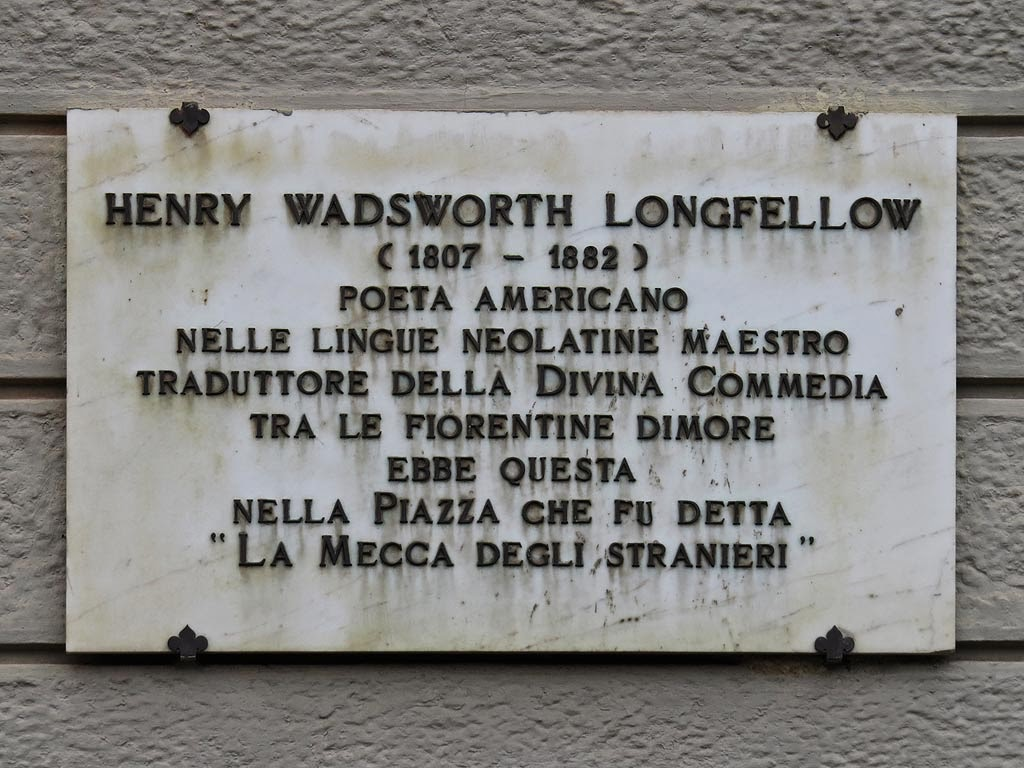 Henry Wadsworth Longfellow plaque, piazza Santa Maria Novella, Florence