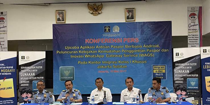 Konferensi pers terkait inovasi yang diluncurkan Direktorat Jenderal Imigrasi.