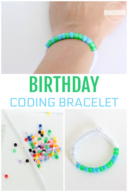 Birthday Coding Bracelet - this is such a fun coding activity for kids of all ages from first grade, 2nd grade, 3rd grade, 4th grade, 5th grad,e and 6th grade to make computers and science fun for kids (homeschool, science fair, science project, sleepover, summer learning)