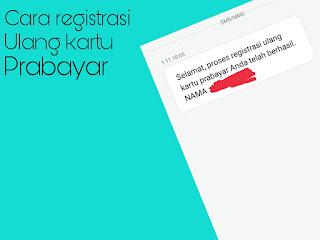 Registrasi bisa dilakukan dengan mengirimkan sms atau bisa juga ke gerai operator