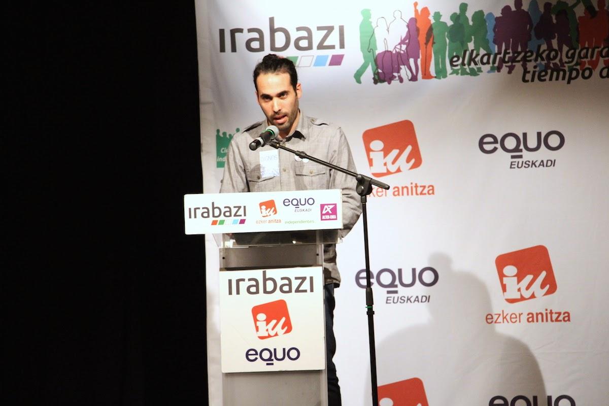 Eder Álvarez, en un mitin de Irabazi