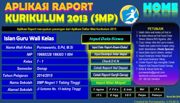 Aplikasi Raport SMP Kurikulum 2013 Format Microsoft Excel