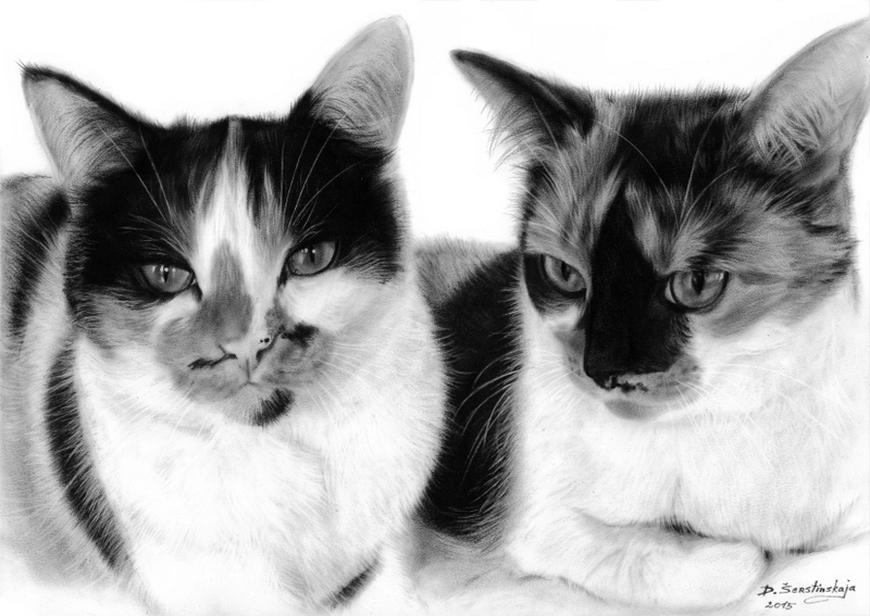 12-The-Hunter-Danguole-Serstinskaja-Paintings-of-Cats-that-look-like-Photographs